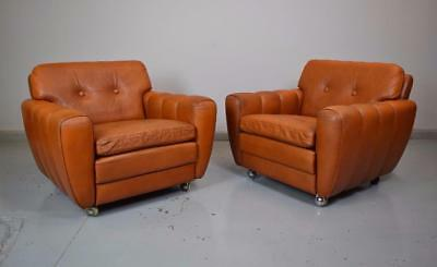 Pair of Mid Century Danish Skippers Mobler Tan Brown Leather Lounge Chairs 1970s
