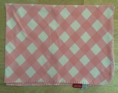 Amy Coe Pink White Baby Diamond Argyle Girls Blanket Red Tag Limited Edition