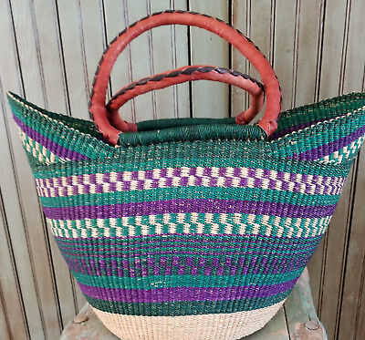 Yikene Bolga Basket - Leather Wrapped Handles - #1219