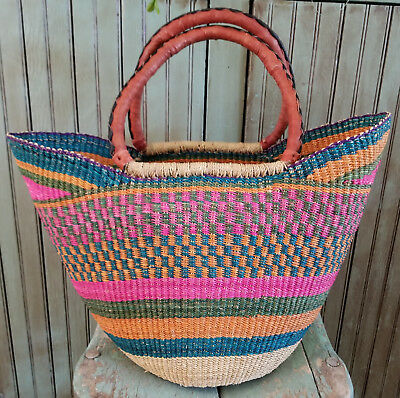 Yikene Bolga Basket - Leather Wrapped Handles - #1214