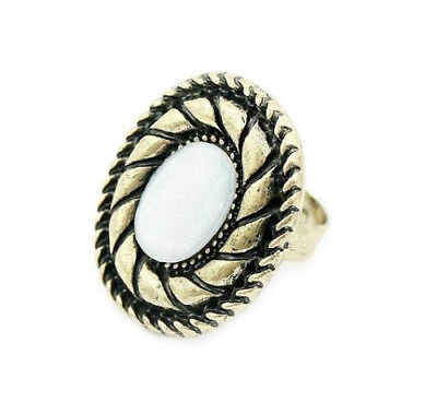 Antique Gold Ring With White Oval Stone Womans Mens Goth Adjustable In Gift Bag