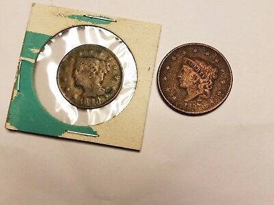 (2)Rare Old Large Cent Coins 1837 & 1848