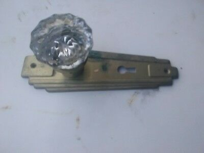 old antique art deco door back plate with glass knob fasten to it 4 crafting...