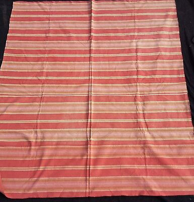 """Antique French Dark Red Striped Cotton Ticking Fabric 49"""" x 43"""""""