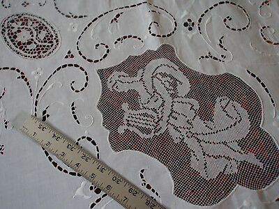 """FINE Point Venice Italian Figural Hand Embroidery Madeira Banquet Tablecloth 93"""""""