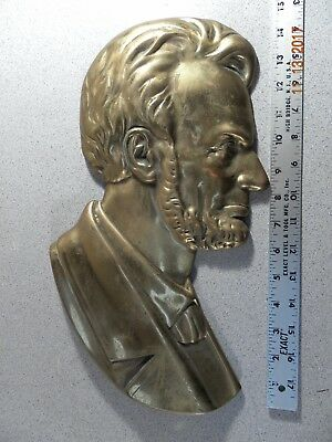 Abraham Lincoln Large Heavy Bronze Wall Plaque Vintage/Antique 15.5'' tall