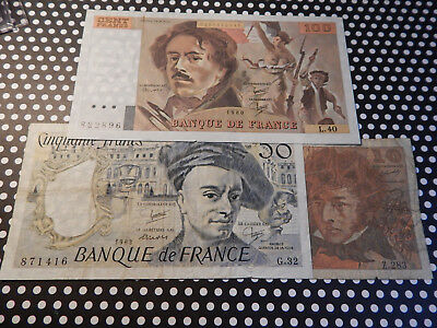 French currency Lot of 10, 50 & 100 French Franc Notes (3 notes in all)