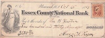 Essex County National Bank, Newark,  New Jersey  1867  Maiden Vignette
