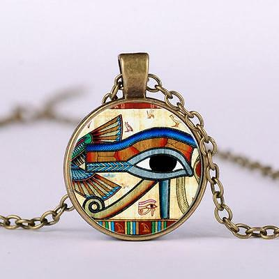 Ancient Egypt Eye of Horus Protection Good Health Glass Dome Pendant Necklace