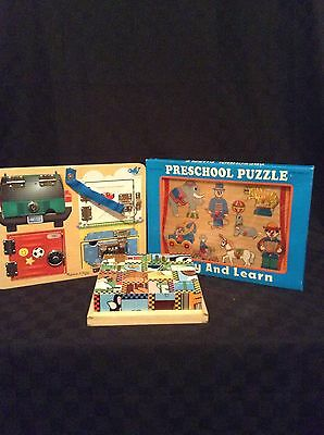 Lot Of 3 Melissa & Doug Wood Blocks & Lock And Latch Toy Puzzles Preschool Kids
