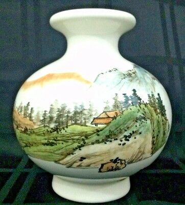 Vintage Oriental Porcelain Pottery Chinese Hand Painted Vase Mountains & Waters
