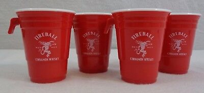 FIREBALL Whiskey Party Cup Sidecar Shot Glass, Red Solo Cup (4-Pack)
