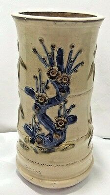 Okinawa Japanese Art Vase Brush Pot Raised Relief Cherry Blossoms-Glazed Pottery