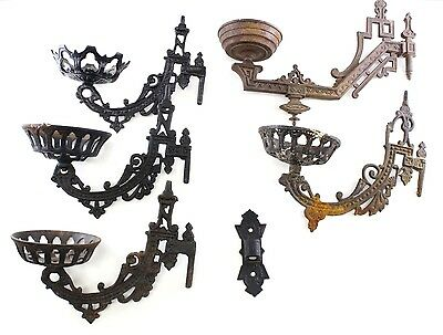 Vintage Cast Iron Wall Sconce Oil Lamp Candle Holder Plant Lot Of 5 Bundle