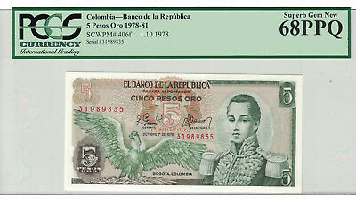 "COLOMBIA 5 Pesos Oro 1978-81 PICK#406f PCGS: 68 PPQ ""Superb Gem New"".(#973)"