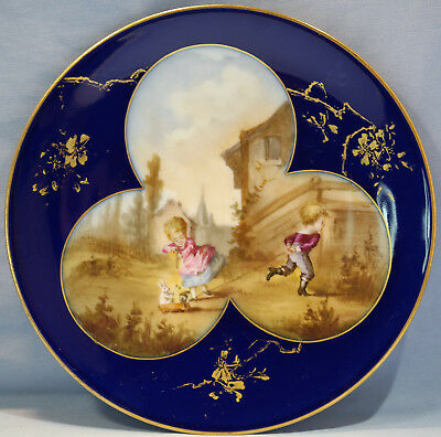 Fischer & Mieg German Hand Painted Porcelain Charger Children at Play E. 20th C
