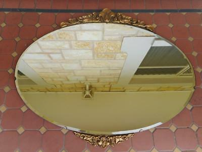 c.1940 Vintage Substantially Sized Oval Shaped Wall Hanging Mirror Bevelled Edge