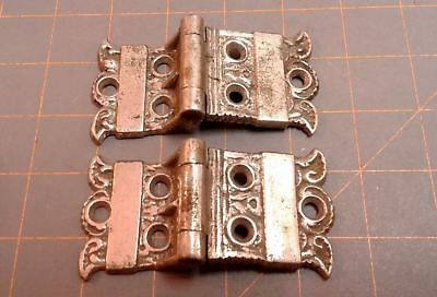 Ice Box Door Hinges PAIR Victorian Cast Brass Nickle Plated Circa 1900 Antique