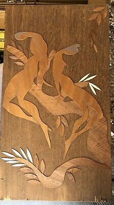 """Orig. Mid Century House of Ransu Wooden Relief Art - """"Nudes in Tree"""" - Signed"""