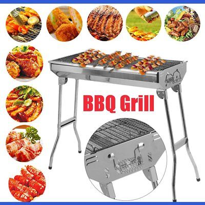 Portable Folding Stainless Steel Charcoal BBQ Grill Outdoor Picnic Camping AUS