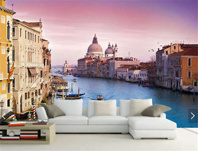 Towns Along River Full Wall Mural Photo Wallpaper Printing 3D Decor Kids Home