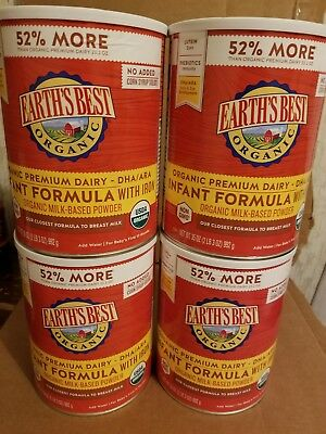 Earth's Best organic formula 4 huge 35oz cans new sealed exp6/20.