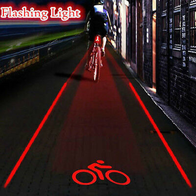 5 LED 2 Laser Flashing Bike Bicycle Light Rear Tail Safety Warning Lamp Night
