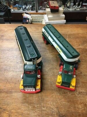 Nice Pair Vintage 1970's Marx Hess Gasoline Oil Tanker Trucks Parts Or Restore