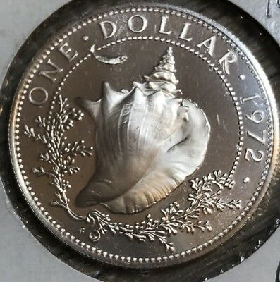 1972 Bahamas Silver Conch Dollar Beautiful Uncirculated