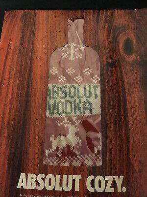 Absolut Vodka Bottle Sweater Cozy Christmas Gift Designed By Cynthia Rowley Xmas