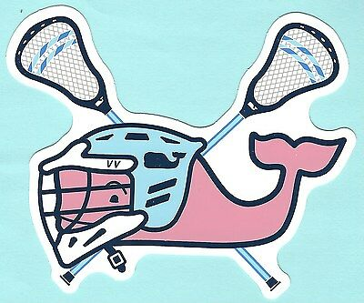 New Authentic Vineyard Vines Pink Lacrosse Lax Whale Sticker Decal