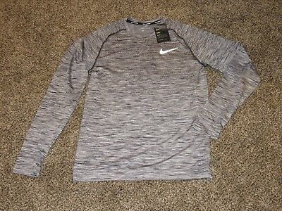 88dff6657 Men's NIKE DRI-FIT LONG SLEEVE L/S KNIT RUNNING SHIRT 833565 010 Black