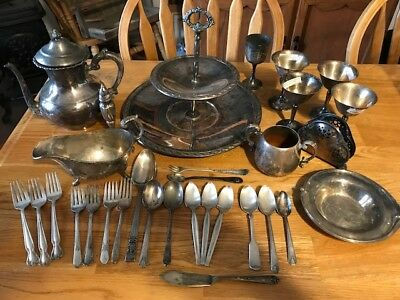 Collection Of Various Antique Silver Plated Tableware Silverware Vintage