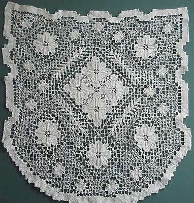 3 Identical Antique Handmade English Filet Net Lace For Small Window
