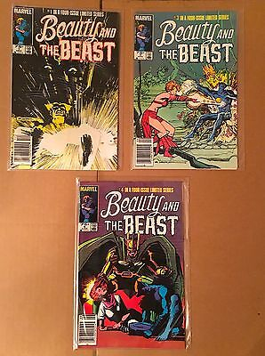 lot of 3 BEAUTY AND THE BEAST comics (#1, #3, #4) VF+/NM Marvel 1984 Dazzler