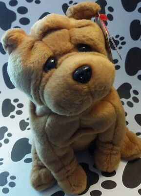 Ty Beanie Baby ~ CRINKLES the SHAR PEI ~ Dog Plush  DOB: October 7, 2003 MWMT