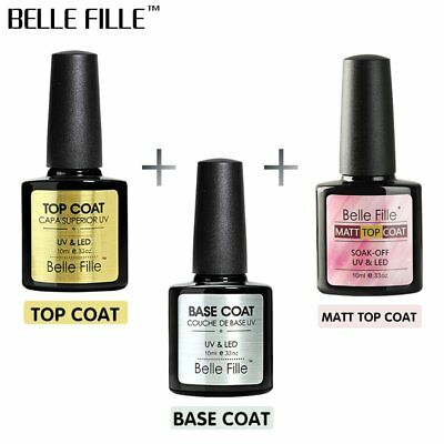 BELLE FILLE Nail Top Coat & Base Coat Gel Polish Soak Off Matte Gel UV/LED 10ml