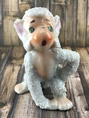 White Sugar Texture Monkey Vintage Figurine Made in Japan