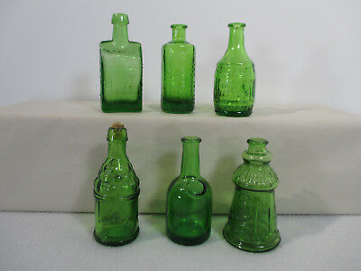 Green Glass Bottles Wheaton Mini Set of 6 Vtg 1970 Cape May Boozs School Roots