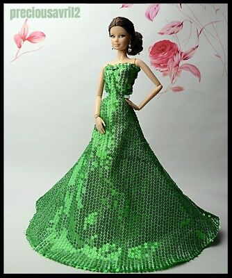 Barbie Doll Clothes  - Green Sequinned Dress/Evening/Gown/Outfit//Wedding