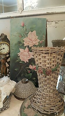 SHABBY Antique Vintage Barbola basket FRENCH ROSES SWAGS OLD
