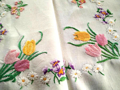 Exquiste Spring Flowers ~Vintage Hand Embroidered Tablecloth; Tulips,Violets++