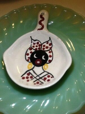 Antique Mammy Ceramic Fry Pan Hand Painted Old Folk Art