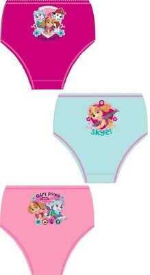 Girls 100% cotton paw patrol 3 pack briefs knickers nickelodeon
