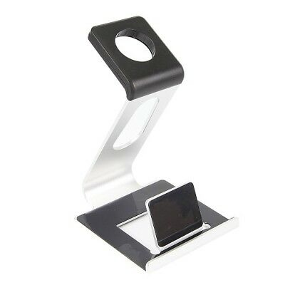 iPhone and Apple Watch Stand, Aluminum Dual TPU Stand Charge Station for Apple