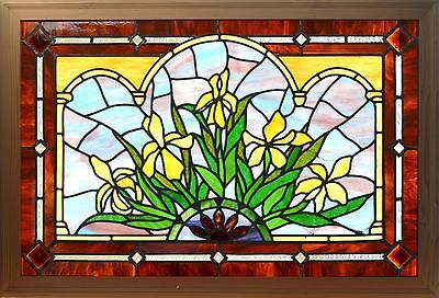 Antique American Floral Stained and Jeweled Window