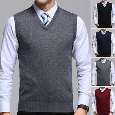 Men's V Neck Knitted Sweater Sleeveless Warm Vest Pullover Business Tops 2018 ❤