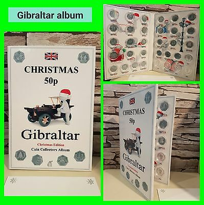 GIBRALTAR 50p CHRISTMAS COIN ALBUM 1988-2010 - LIMITED EDITION with Mintage!