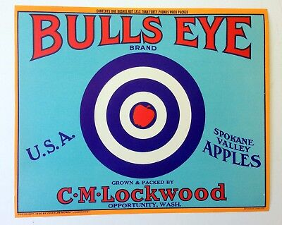 RARE Bulls Eye Brand vintage apple crate label - 1920s - MINT condition
