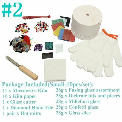 10pcs/Set Microwave Kiln Pot Kit DIY Stained Glass Fusing Supplies Jewellery AU